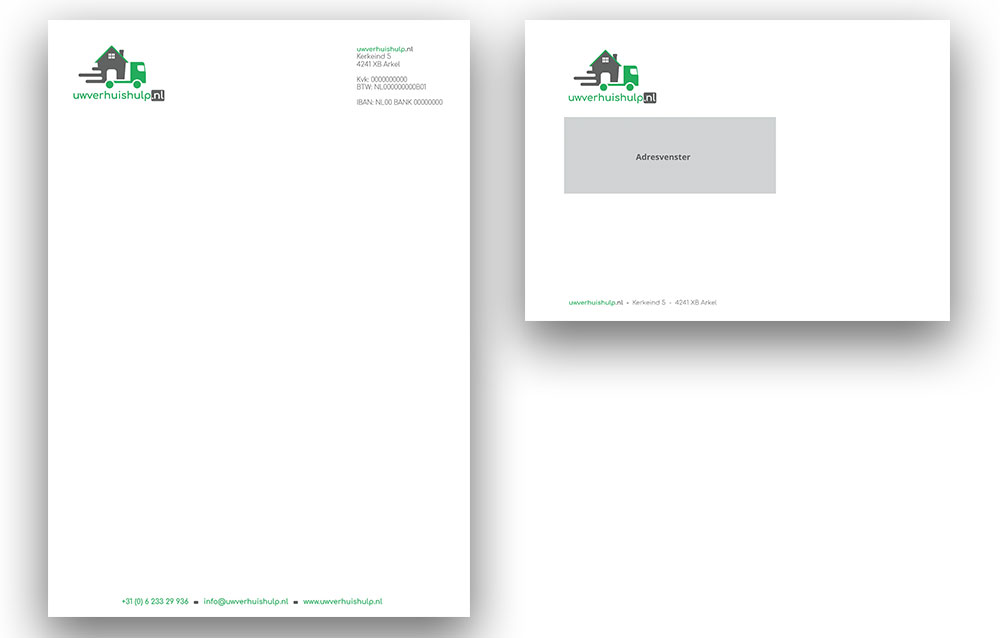 Briefpapier en envelop ontwerp Uwverhuishulp.nl