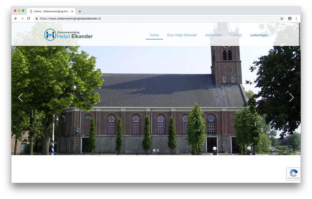 Website Ziekenvereniging Helpt Elkander